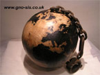 The finished ball stained like a map of the globe, and varnished