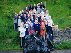 A group photo of the 30ish volunteers who helped clean up Cefn Coed Rhychdir
